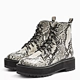 Topshop Oslo Snake Chunky Lace-Up Boots