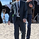 Tobey Maguire donned a suit on the LA set of Pawn Sacrifice Tuesday.