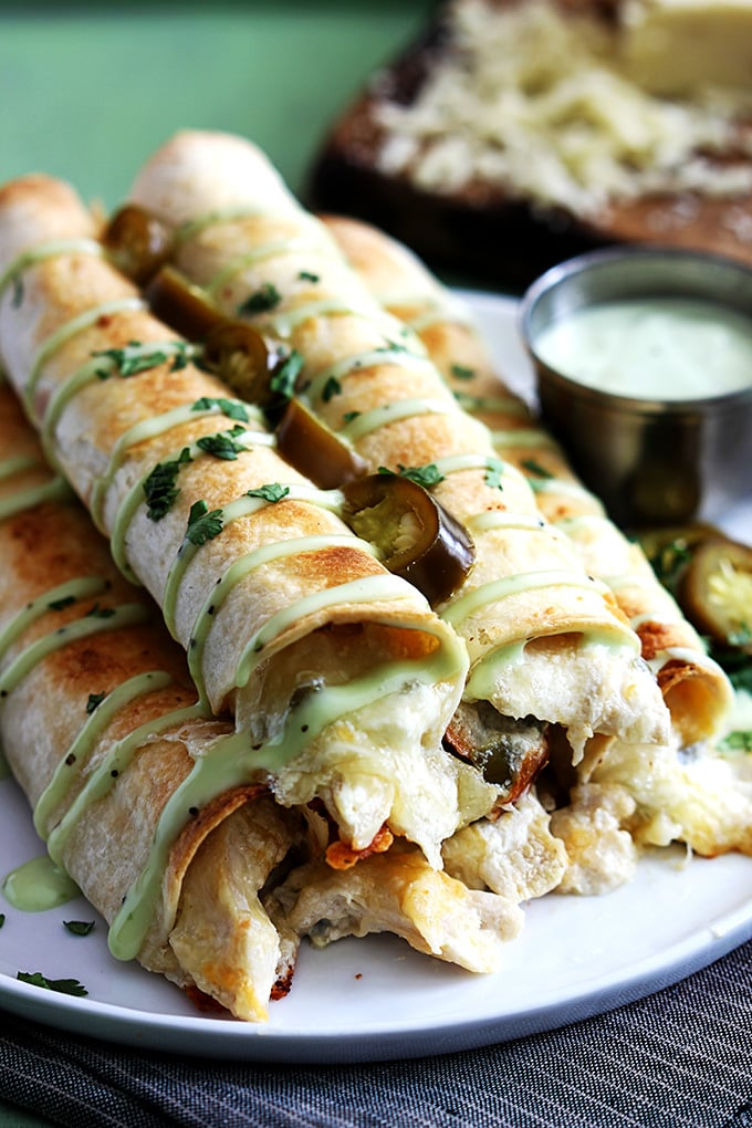Slow-Cooker Jalapeño Popper Chicken Taquitos