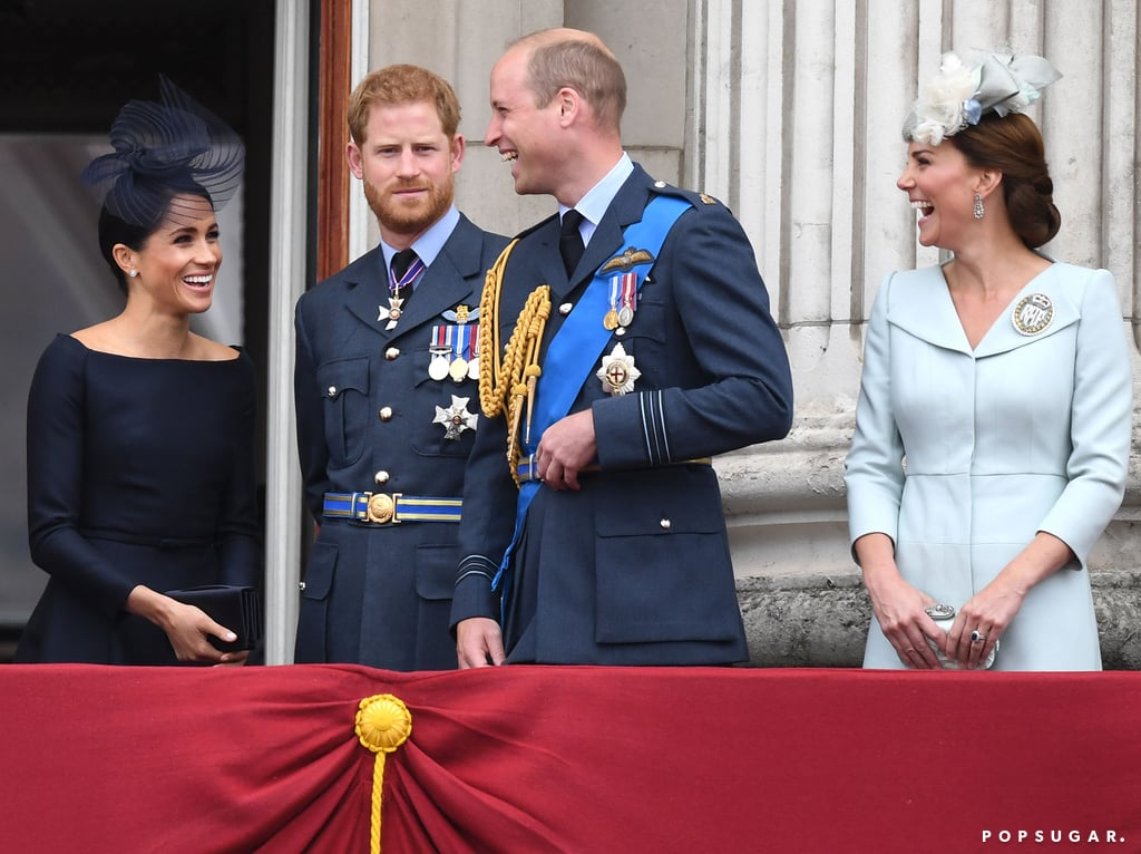 Prince William and Prince Harry were joined by their wives, Kate Middleton and Meghan Markle, to celebrate the 100th anniversary of the Royal Air Force on Tuesday in London. The fab four arrived in style at Westminster Abbey and later took up on the Buckingham Palace balcony to watch the military fly-past. While there, it appeared that Will, Kate, and Meghan shared a laugh at something Harry wasn't in on; the 33-year-old newlywed looked a little confused as the trio cracked up. It reminded us a bit of when Harry was Kate and Will's third-wheeling pal before Meghan joined the show! Will clearly had the giggles all day, as he was also caught chuckling in his seat by Kate. After the RAF ceremony, Harry and Meghan jetted off to begin their two-day tour of Ireland. Maybe Meghan filled Harry in on the joke during the plane ride? Keep reading to see Harry being left out of the joke.      Related:                                                                                                           Harry and Meghan's Royal Milestones Are Even Sweeter When Seen Side by Side With Will and Kate's