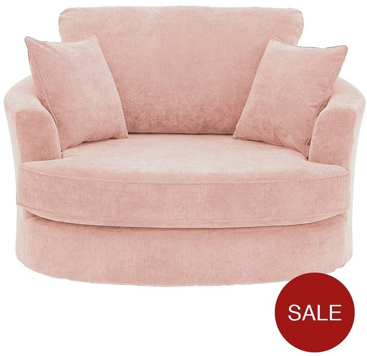 Ideal Home Camden Fabric Swivel Chair | Pink Accent Chairs For the ...