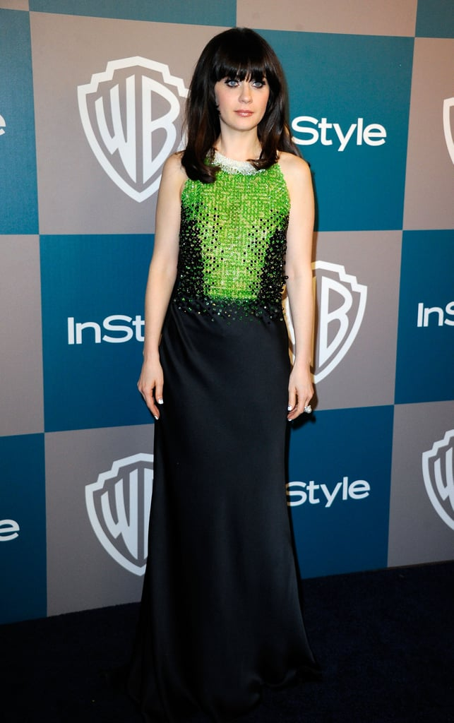 Zooey Deschanel in Prada at the Golden Globes afterparty hosted by InStyle.