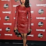 Kerry Washington stayed cool in a red leather dress at the NYC upfronts, while black pumps and a black clutch lent a classic finish.