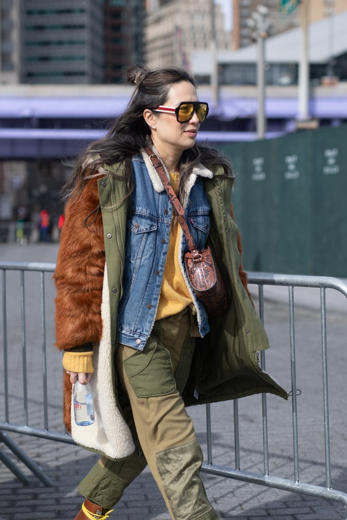 Lean into the layered look and utilitarian vibes with an army jacket and denim to top off a pair of cargo fatigues.