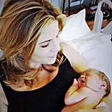 Jenna Bush-Hager cradled her newborn daughter, Mila. Source: Twitter user todayshow
