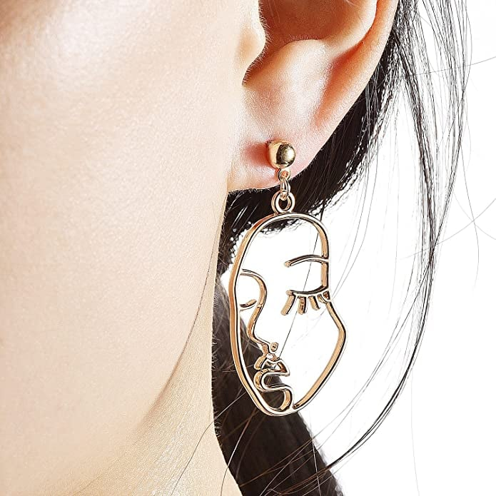 Face Abstract Gold Statement Earrings