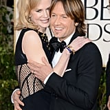 The couple cuddled up at the Golden Globes in Jan. 2013.