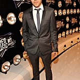 Pete Wentz posed in a suit.