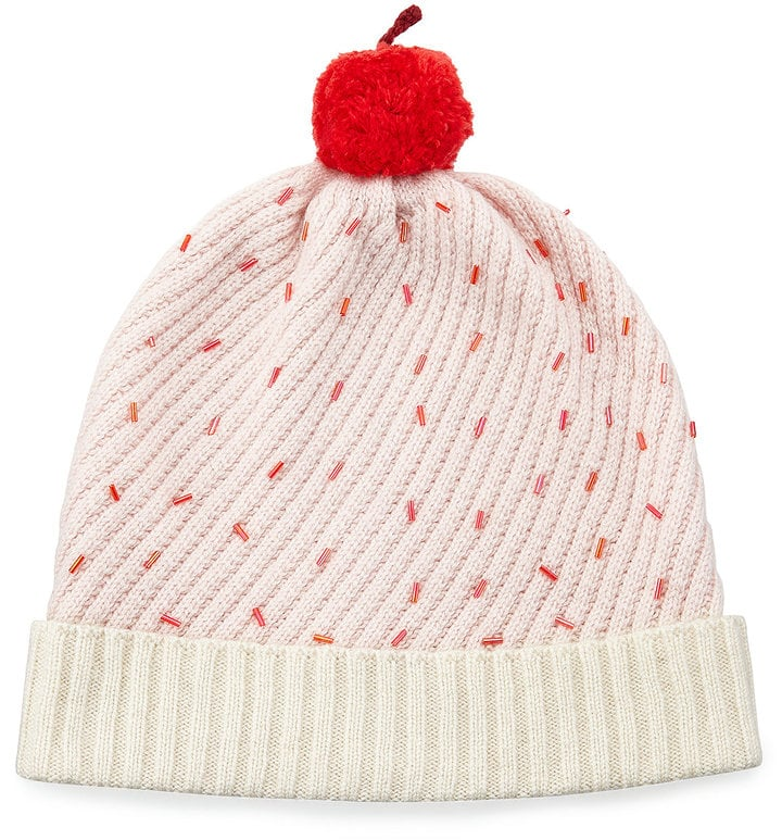 Kate Spade Cupcake Beaded Beanie Hat, Pink ($72)