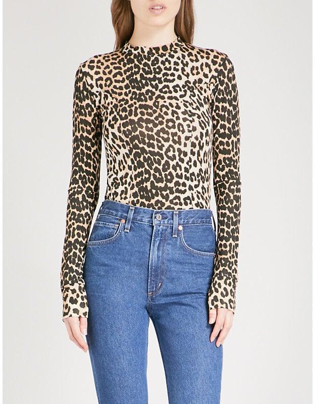 5e5b7394b0 Ganni Montmartre leopard-print Stretch top | How to Wear Leopard ...