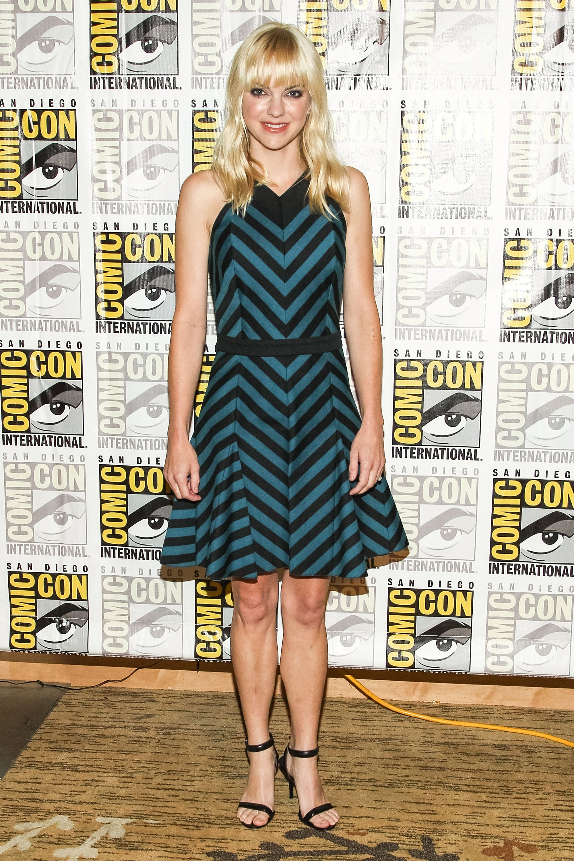 Anna Faris chose a teal and black dress from Robert Rodriguez for a press event promoting her movie Cloudy With a Chance of Meatballs 2.