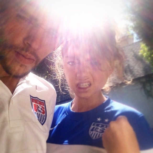 """During Sunday's game, Sarah Hyland put on a brave face. """"Tough first half. Fight on USA! Fight on!#ibelievethatwewillwin #worldcup,"""" she wrote. Source: Instagram user sarahhyland"""