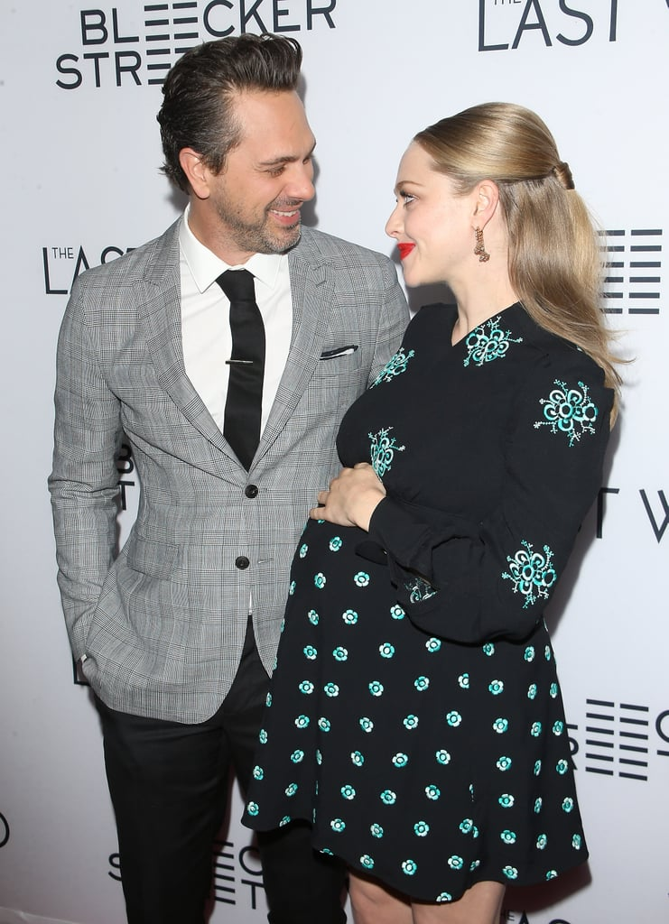 Ever since Amanda Seyfried and Thomas Sadowski announced that they were engaged in September and expecting their first child together a month later, it seems like they haven't been able to stop smiling. The adorable couple usually keep a pretty low profile, but on Wednesday night they decided to get all dressed up for the glamorous LA premiere of the new film they're in together, The Last Word. The 31-year-old actress posed for a few fun photos with costar Shirley MacLaine, but for the most part she couldn't keep her eyes off of her fiancé. She and the Newsroom actor, 40, hit the red carpet in style and basically transformed into the heart eyes emoji anytime they glanced at each other. Cue major swooning in 3, 2, 1 . . .