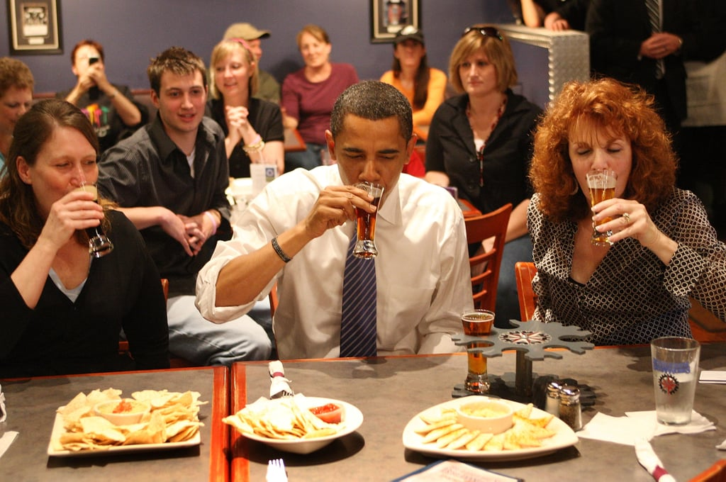 Then-Senator Obama sipped some beer during a 2008 campaign stop to a brewery.