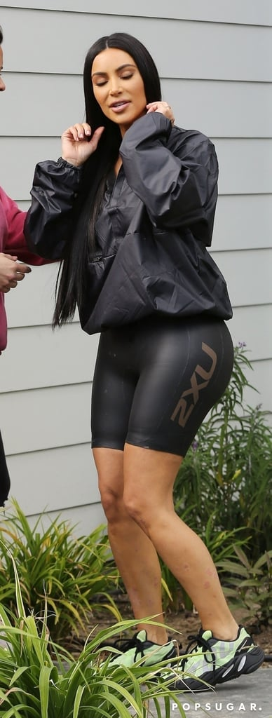 Kim Kardashian Rocking Yeezy Bike Shorts