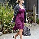 Reese Witherspoon paired her dress with a gray sweater and flats in Brentwood.