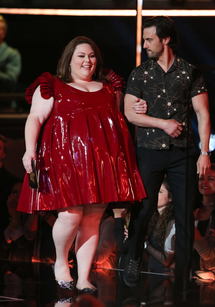 "Since stealing our hearts on the hit show This Is Us, Chrissy Metz has become a role model for body positivity and confidence, and guess what? She is not here for body shaming. After appearing at the 2017 MTV Movie and TV Awards in a stunning red latex dress with ruffle sleeves and shimmery flats (which she had been planning with her stylist, Jordan Grossman, for over a year) the 36-year-old faced some negative feedback about her look. But as Chrissy always does, she responded to the body shamers in an empowering way, reminding everyone that she can do whatever she wants. Following the award show, Chrissy took to Twitter, writing, ""For the record, I wear what I want, when I want. News flash it's MY body. #thankstho,"" seen below. For the record, I wear what I want, when I want. News flash it's MY body. #thankstho — Chrissy Metz (@ChrissyMetz) May 8, 2017  We fully support this message. Keep reading to see the gorgeous photos of Chrissy presenting with her equally as sexy costar Milo Ventimiglia, then read up on the details of Chrissy's design, including how the fabric was sourced from Jane Doe Latex to nail the perfect image."