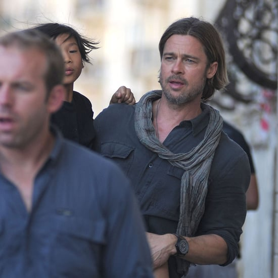 Brad Pitt and Pax on the Set of World War Z Pictures