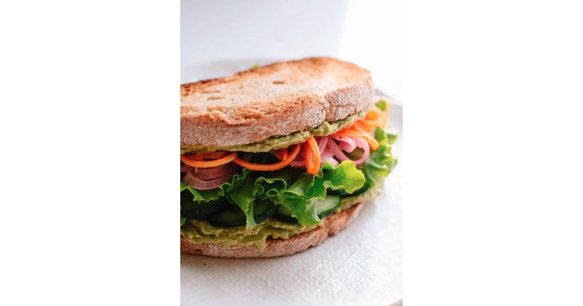 Green Goddess Hummus Sandwich Vegetarian Sandwich Fillings Ideas And Recipes Popsugar