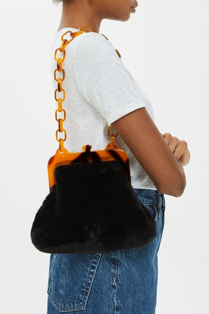 c70512a288fa Topshop Faux Fur Frame Tortoiseshell Shoulder Bag