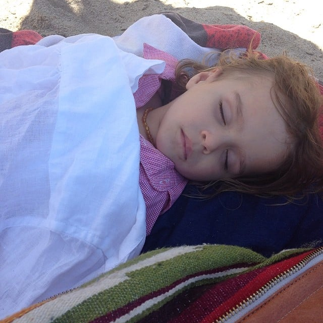 Arthur Bleick tired himself out at the beach. Source: Instagram user therealselmablair