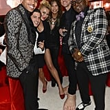 Jim Carrey and Randy Jackson had fun with friends at Elton John's party on Oscar night.