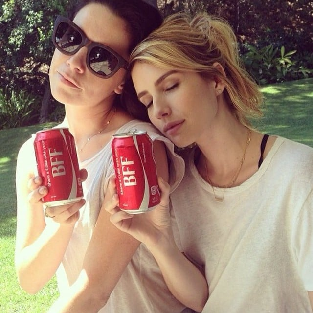 Emma Roberts Relaxed With A Can Of Coke Selfies And Sweet Kisses