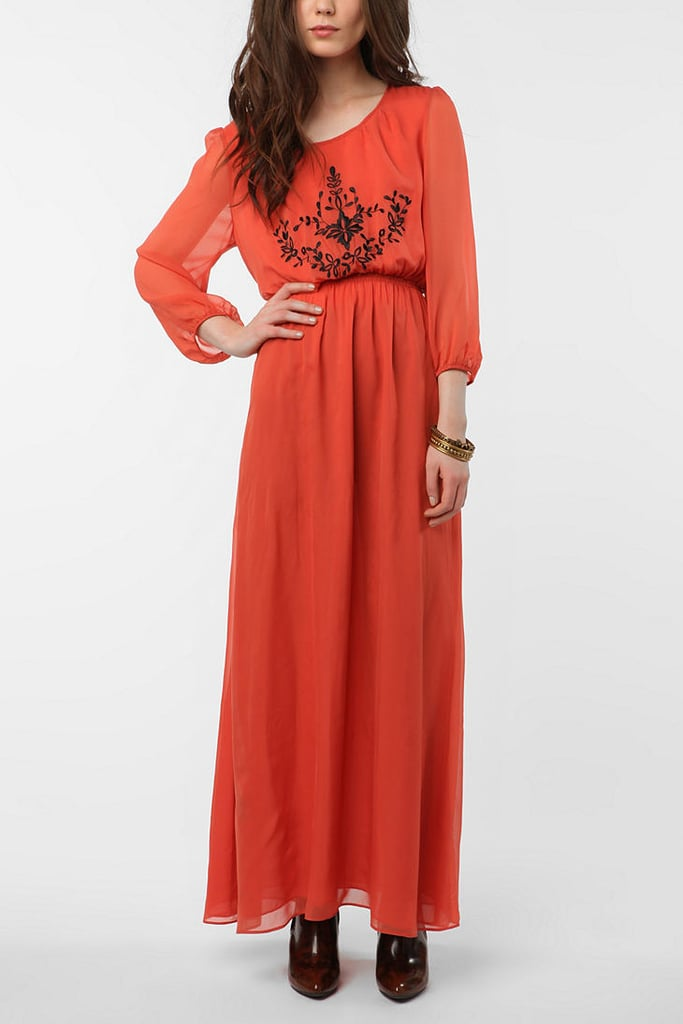 Go for a romantic Winter mood with this long, flowy, burnt-orange maxi dress with sheer sleeves. Piplette by Alice Ritter Babe Dress ($50, originally $129)