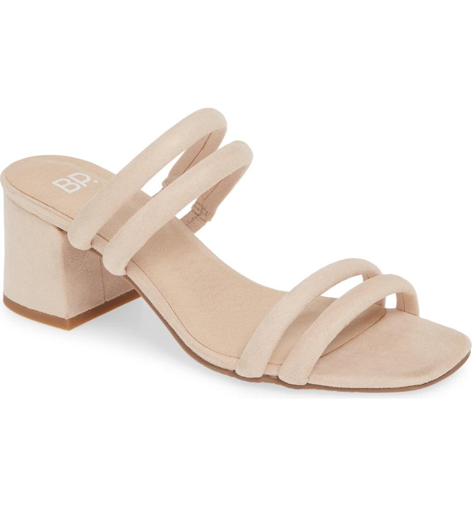 BP. Lucia Block Heel Slide Sandal in Beige