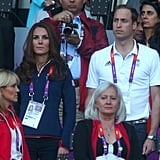 On Saturday August 4, Kate wore her navy Zara toursers with her red trimmed navy Team GB sweater at the athletics.