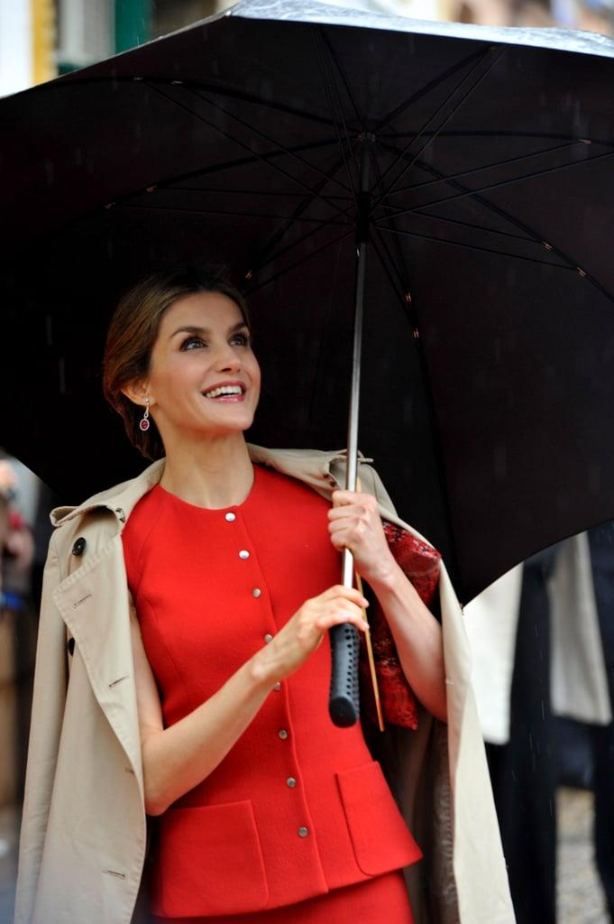 Queen Letizia of Spain's Umbrella Style May 2016