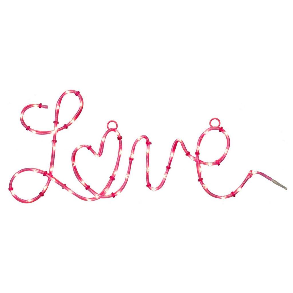 Love Cursive Lit Decor