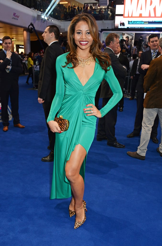 In a plunge neck emerald dress at the Captain America premiere in 2014.