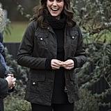 Kate Middleton Wearing Black Polo Neck Jumper