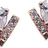 CARAT* London Rose Gold Plated on Sterling Silver Pear Cut Key Stone and Micro Set Victoria Stud Earrings