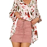 Siyinfushi Suede Stretch Bodycon Mini Skirt