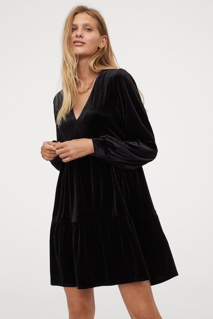 V-neck Velour Dress