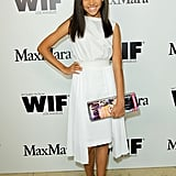 Amandla Stenberg looked sweet in a white dress and black heels.