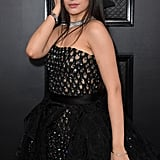 Camila Cabello Black High-Low Versace Dress at Grammys 2020