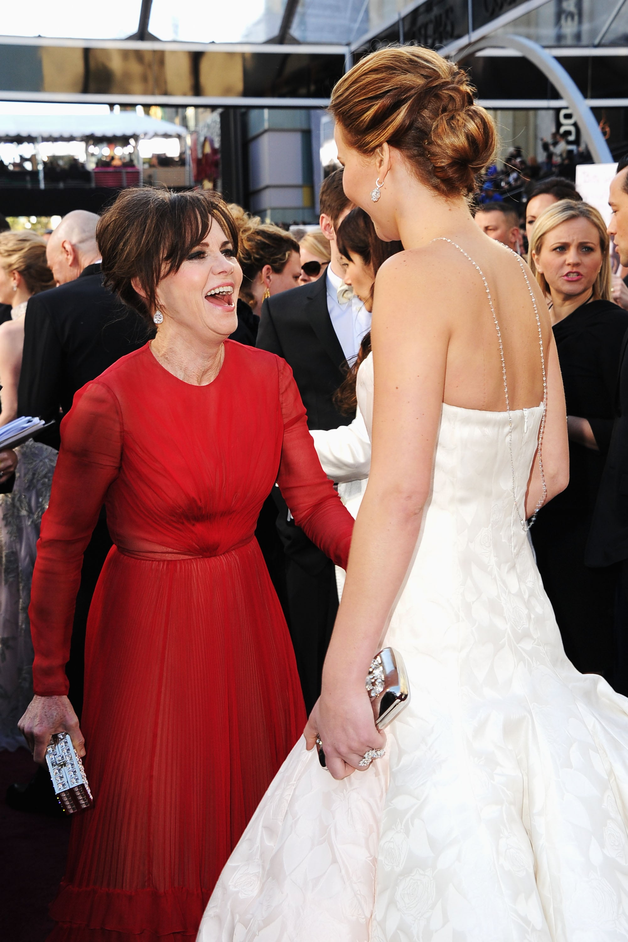 Sally Field shared a laugh with Jennifer Lawrence.