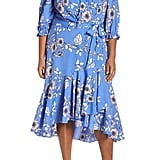Eliza J Gathered Neck Faux Wrap Midi Dress