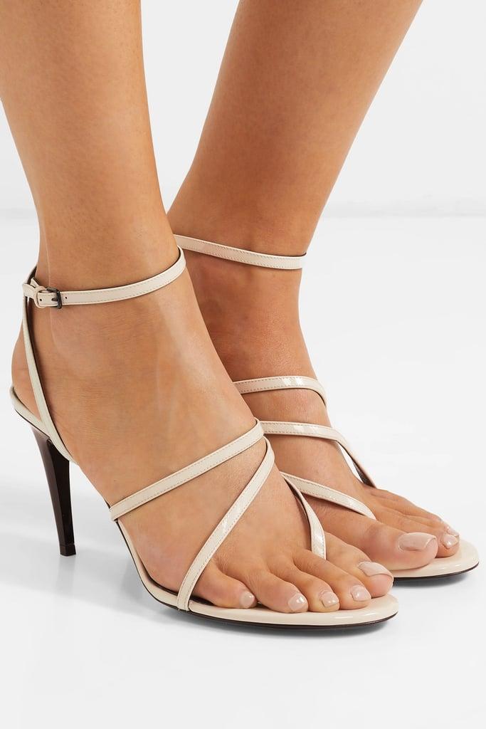 Saint Laurent Paris Minimalist Patent Leather Sandals