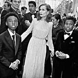 Pictured: Alex R. Hibbert, Isabelle Huppert, and Jaden Piner