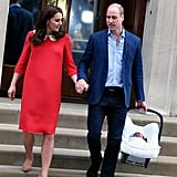 The couple held hands as they left St. Mary's Hospital with their new baby, Prince Louis, in April 2018.