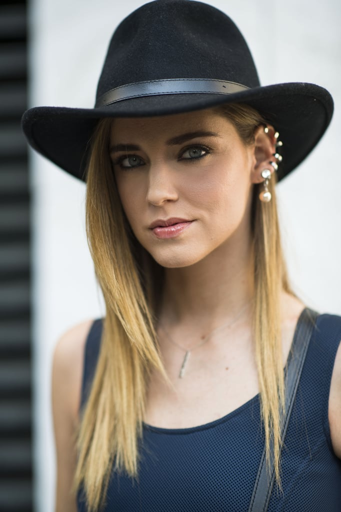 Chiara Ferragni looked gorgeous with straight hair, bold brows, and a cute chapeau.  Source: Le 21ème | Adam Katz Sinding