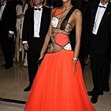Model and actress Noémie Lenoir donned a colourful cutout gown in 2003.