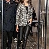 Spotted in Paris Wearing Leather Pants and a Checkered Blazer