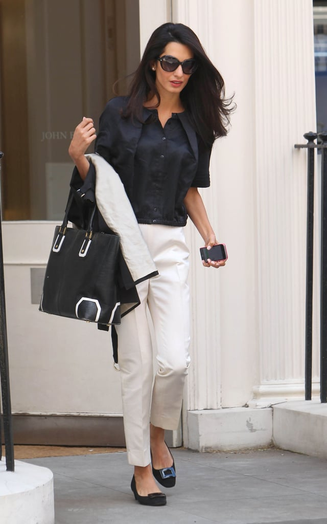 Amal stepped out in a Charlotte York-approved ensemble that looked so crisp and not a bit boring.