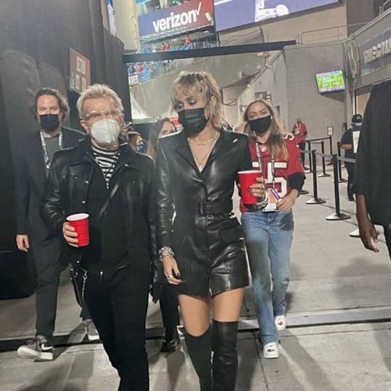 Miley Cyrus's Black Saint Laurent Jacket at the Super Bowl