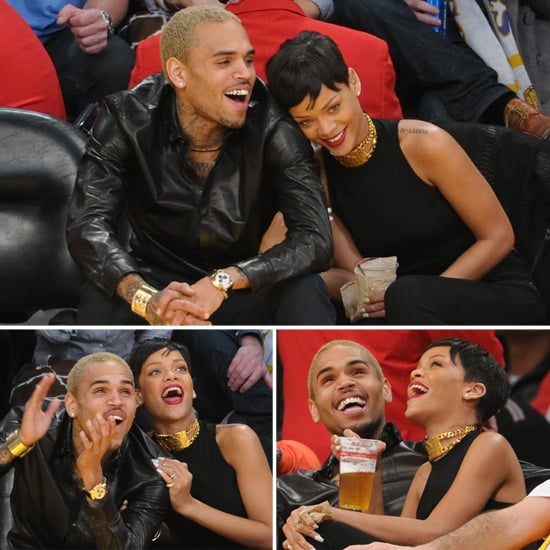 Rihanna & Chris Brown Go Public With Happy PDA at Christmas Lakers Game